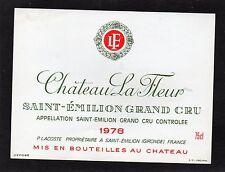 SAINT EMILION GC ETIQUETTE CHATEAU LA FLEUR 1978 75 CL      §18/04/17§