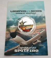 2018 Legends of the Skies Supermarine Spitfire 50p Silver Plated Medal Coin, RAF