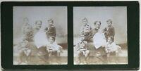 Niños Foto Estéreo Aficionado snapshot n32 Vintage Citrato c1900