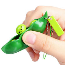 1 pcs Cute Green Squishy Squeeze Peas Beans Keychain Key Rings Stress Reliever