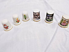 "VINTAGE LOT OF 6 PORCELAIN ""MADE IN JAPAN"" THIMBLES - CHRISTMAS & SCENES 1980'S"