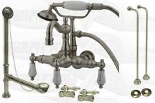 Satin Nickel Clawfoot Tub Faucet Drain Supplies Stops
