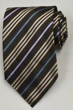 NEW Burberry Brown/Yellow/Blue Mans 100% Silk Tie Authentic Italy Made 035016