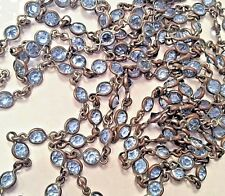 """VICTORIAN PALE BLUE BRASS Open Back Crystal Muff Guard Watch Chain Necklace 54"""""""