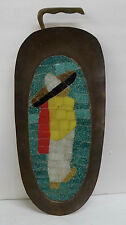 Salvador Teran Brass Tray with Mexican Man Mid Century Modern