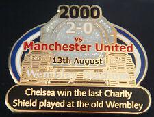 CHELSEA v MANCHESTER UNITED Victory Pins 2000 CHARITY SHIELD Badge Danbury Mint