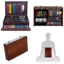 142 Piece Art Set With Deluxe Wood Case Includes Pencils Watercolor And Pastels