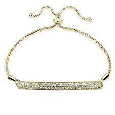 Gold Ton über Sterling Silber Zirkonia 2-reihig Leiste Einstellbar Armband