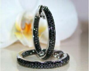 1.60Ct Round Cut Black Diamond Huggie Hoops Earrings Solid 14K White Gold Finish