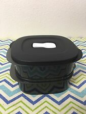 Tupperware Square Packette Dish Dou Lunch Set Of 2 New 2 Cups Black Clip On