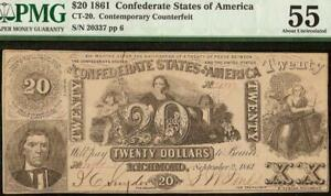 1861 $20 CONFEDERATE STATES CONTEMPORARY COUNTERFEIT CIVIL WAR NOTE CT-20 PMG 55