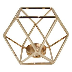 Modern Metal Gold Hexagon Shaped Tea Light Candle Holder Decoration