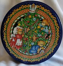 """Vintage """"Lucy & Me""""Lucy Rigg Enesco Bear Round 8"""" Christmas Tin"""