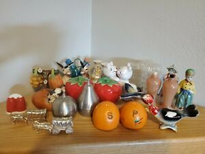 Vintage Lot of Salt and Pepper Shakers, Retro, Japan; 14 sets and one individual
