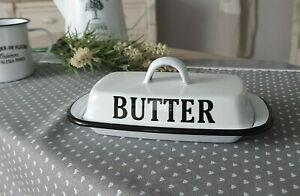 Enamel Butter Dish White Shabby Chic Vintage 8x13x21cm