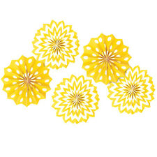 YELLOW POLKA DOT CHEVRON PAPER FAN DECORATIONS (5) ~ Birthday Party Supplies