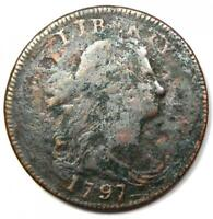 1797 Draped Bust Large Cent 1C - Fine Details - Rare Early Date Coin!