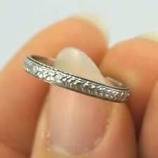 Art Deco Vintage 18k White Gold FANCY Floral Chevron Eternity Wedding Ring Band