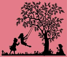 Swing children tree People vinyl Wallart Sticker Decal Vinyl girl bedroom decor