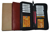 Genuine Leather Checkbook Cover Wallet Organizer with Credit Card Holder