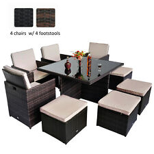 9pc Rattan Dining Set Garden Furniture Patio Table Chair Set w/ cushions 2colors