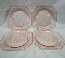 4 ANCHOR HOCKING Mayfair / Open Rose Depression Glass Pink Dinner Plates 8.25in