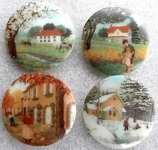 4 Czech UNIQUE Glass Buttons #D636 - XXLarge - FOUR SEASONS!!!!!!