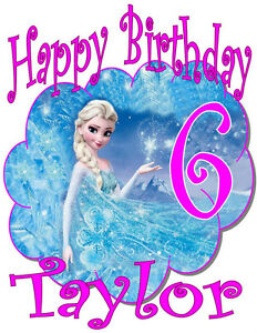 FROZEN ELSA HAPPY BIRTHDAY T-SHIRT Personalized Any Name/Age Toddler to Adult
