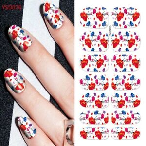 1 Sheet 3D DIY Flower Decal Transfer Manicure Nail Art Stickers Tips Decoration