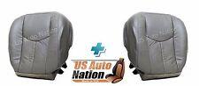 2005 2006 GMC Sierra Denali Driver & Passenger Bottom Leather Seat Cover in Gray