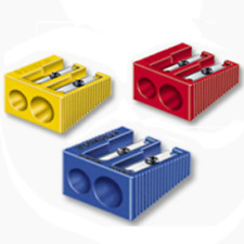 Staedtler Double Hole Plastic Pencil Sharpener ALL COLOURS *UK SELLER*