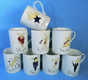 8 different  POTTERY BARN REINDEER CHRISTMAS MUGS (MINT)
