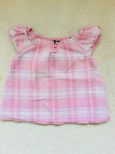 Baby Girls Short Sleeve Pink Mix Checked top from Gap Age 18-24 months