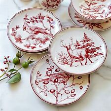 New HOLIDAY TOILE Williams Sonoma SALAD PLATES Set of 4 CHRISTMAS Bird Deer Red  sc 1 st  eBay & Williams-Sonoma Holiday Dinnerware Plates | eBay