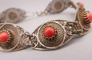 Prachtvolles ausgesprochen seltenes antikes Armband Silber filligran Korallen