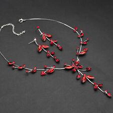 Schmuckset Damen Collier Braut Ohrringe Rot Schmetterling Blumen Brautschmuck