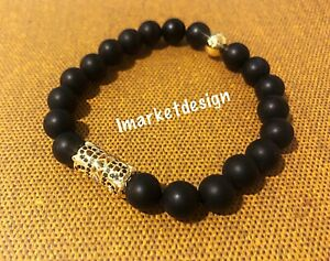 Mens beaded bracelet Black Plus Zircon Gold Plated