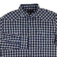 Banana Republic Slim Fit Blue Plaid Mens Long Sleeve Shirt Mens Large Snap