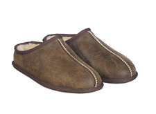 KirklandSignature Men's Shearling Clog Slipper, Chocolate Bomber Brown
