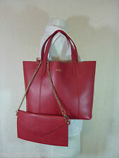 NWT Furla Ruby Red Pebbled Leather Small Elle Tote Bag $248