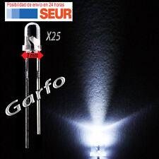 25X Diodo LED 3 mm Blanco 2 Pin alta luminosidad