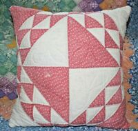 Charming Vintage 1890's Red Flying Geese Variation Patchwork Quilt Throw Pillow
