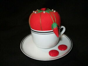 CUP SAUCER GLUED RED PIN CUSHION & BUTTONS GIFT IDEA FOR TEA LOVER / SEWER
