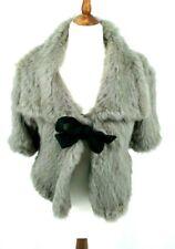 Stunning Burberry Prorsum Grey Rabbit Fur Jacket Cape UK 8 IT 40 GER 36 S