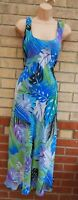 JUST ELEGANCE MULTI BLUE TROPICAL ABTRACT REVERSIBLE A LINE MIDI SUMMER DRESS 14