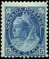 Canada #79 mint F OG HR 1899 Queen Victoria 5c blue Numeral Issue CV$100.00