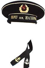 """SOVIET NAVY """"NAKHIMOV NAVY SCHOOL"""" FLAT CAP W/CAP BADGE+""""SOVIET GUARDS"""" BADGE-56"""