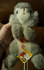 "Vintage Steiff Sonny Bunny Rabbit 2960/22 ear button & tags Grey White 10"" tall"