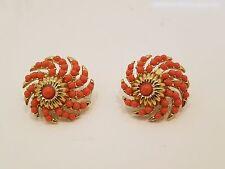 Vintage Crown Trifari red coral earrings