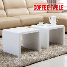 High Gloss White Set of 2 Coffee Table Side End Tables Living Room Furniture